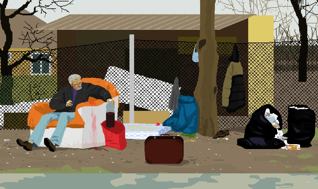 Homeless person under a shelter - Art by Noemi Mondik