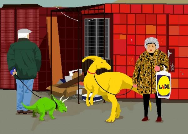 People walking dinosaurs - Art by Noemi Mondik