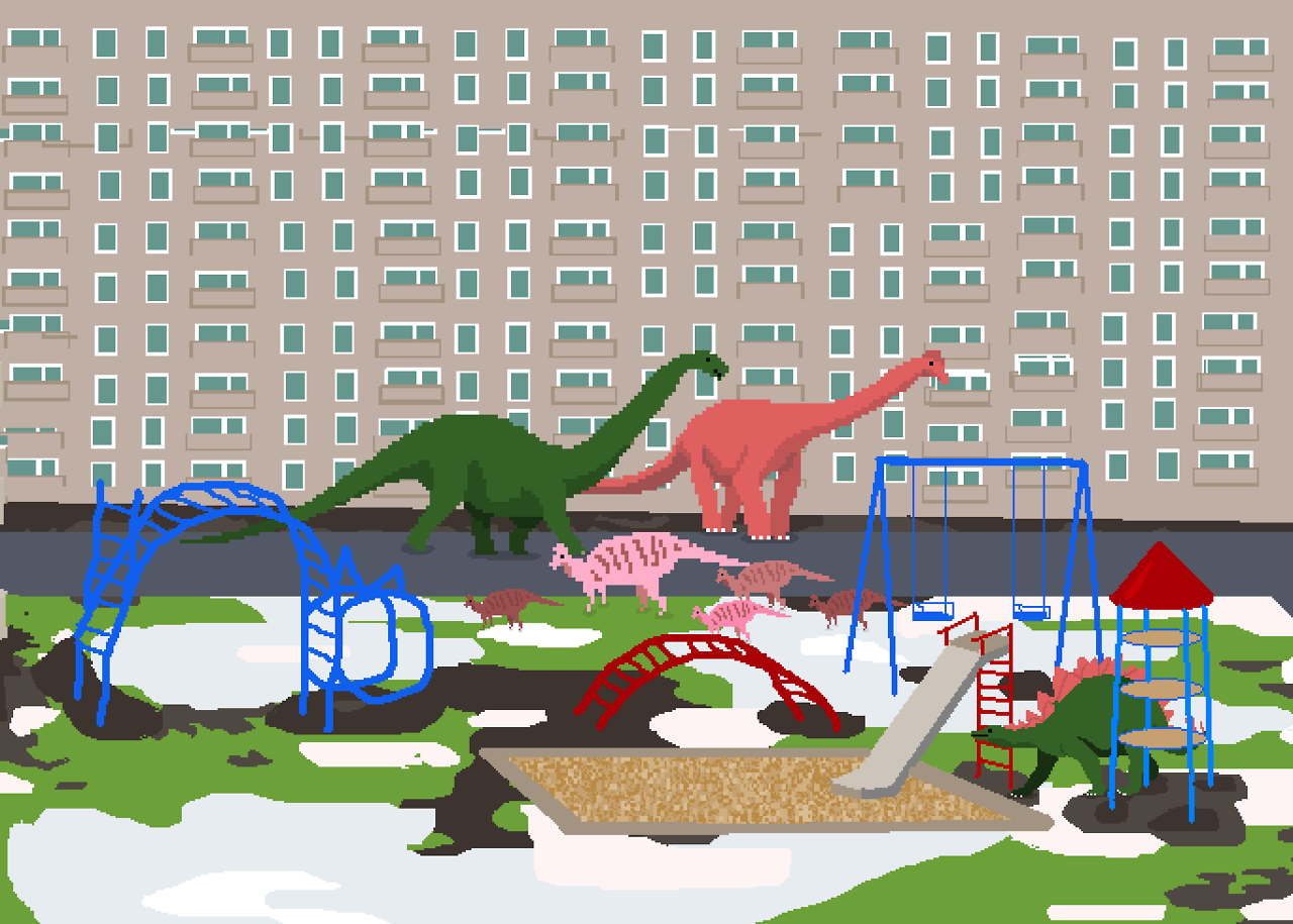 Dinosaurs on a playground  - Art by Noemi Mondik