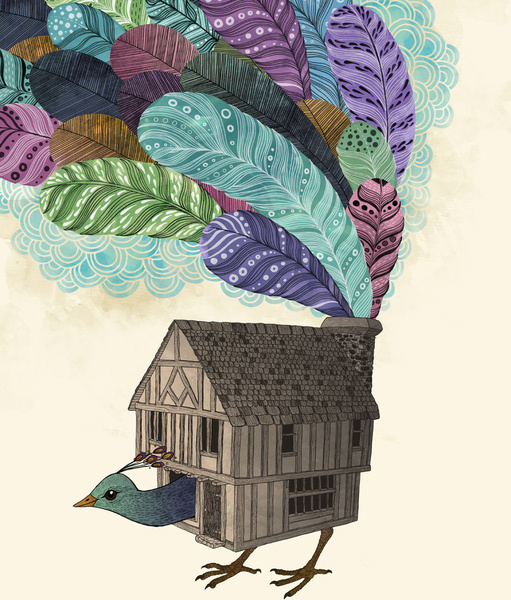 Birdhouse Revisited - Art Print by Laura Graves