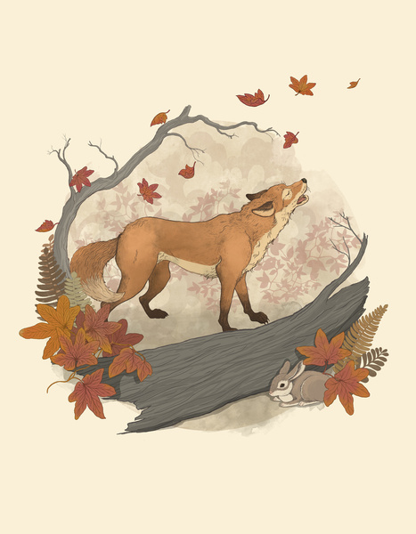 Fox and Rabbit - Art Print by Laura Graves