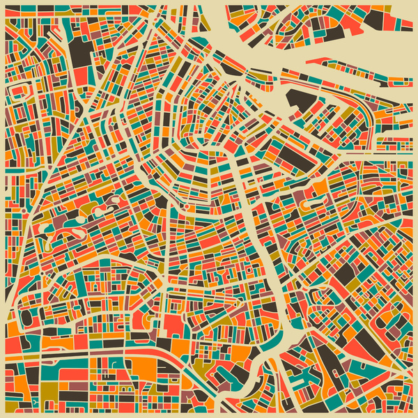Jazzberry Blue S Abstract City Map Art Prints Monde