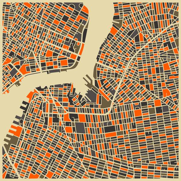 Brooklyn - City Map Art Prints - by Jazzberry Blue