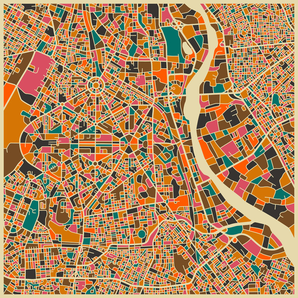 New Delhi - City Map Art Prints - by Jazzberry Blue