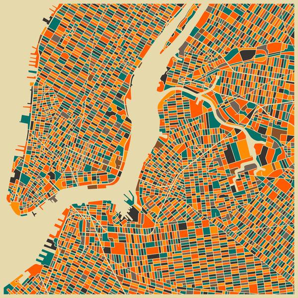 New York - City Map Art Prints - by Jazzberry Blue