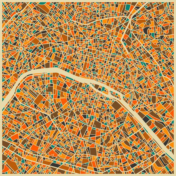 Paris - City Map Art Prints - by Jazzberry Blue