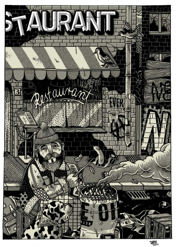 The Poor Restuarant - Drawing by Martin Krusche
