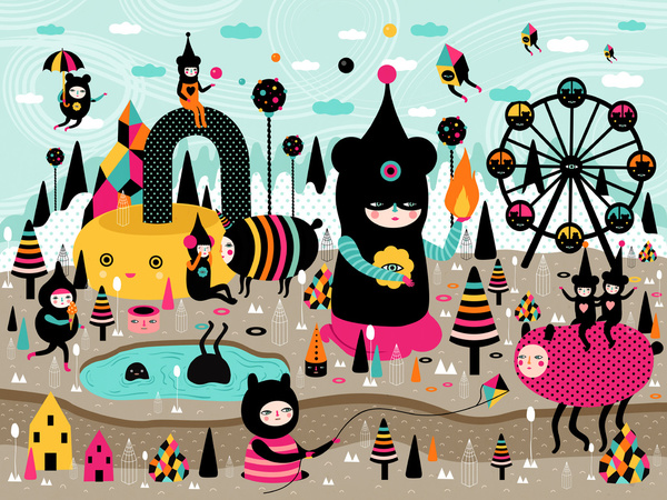 A Joyful Time - Colourful Art Print by Muxxi