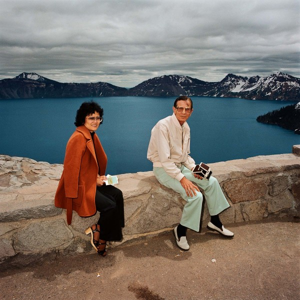 Couple Taking Polaroids, Crater Lake National Park, OR 1980 - Sightseer Series - Photo by Roger Minick