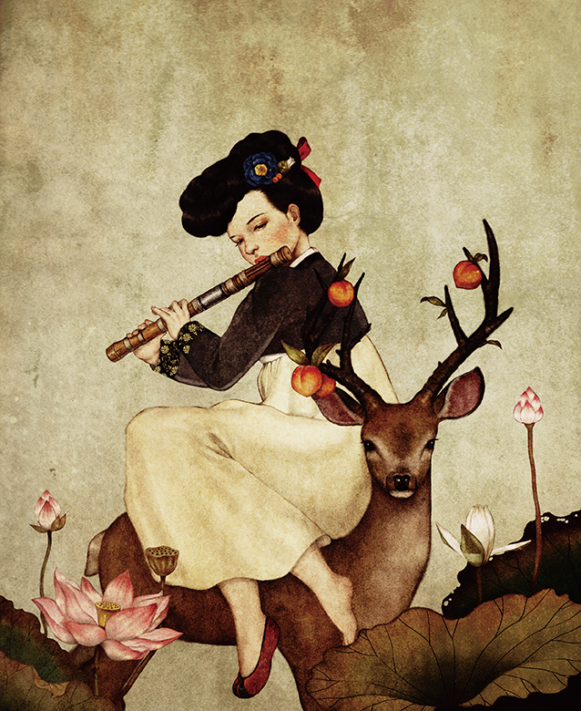 Girl with Deer and Lotus - Illustration by Dani Soon