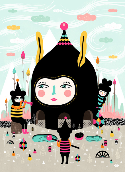 Home is Where the Happy Creatures Are - Colourful Art Print by Muxxi
