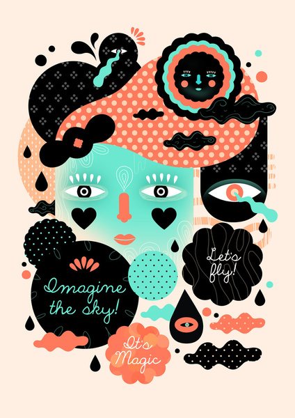 Imagine the Sky - Colourful Art Print by Muxxi