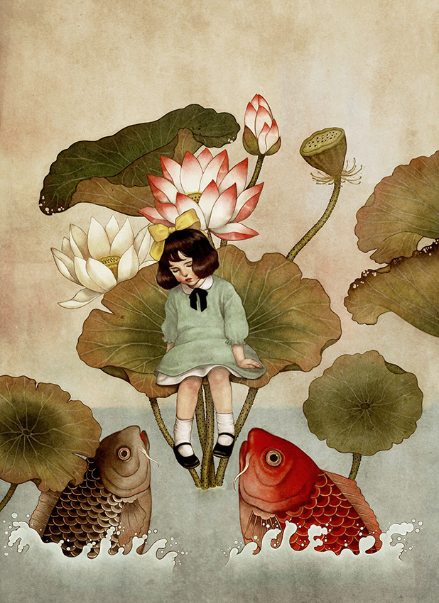 Thumbelina and Fishes - Illustration by Dani Soon