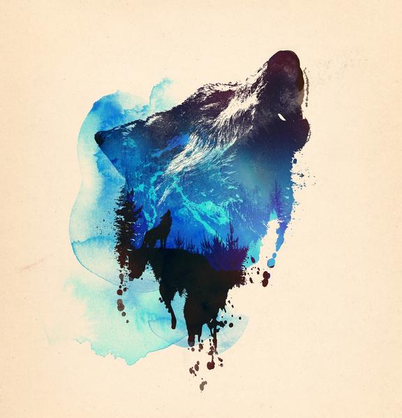 Alone as a Wolf - Art Print by Robert Farkas