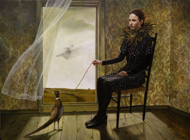 Pheasant Keeper - Painting by Andrea Kowch