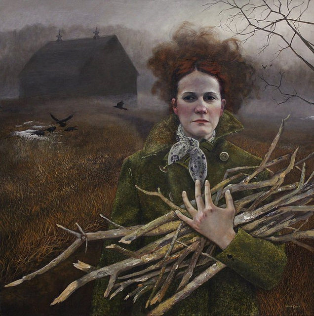 Wood Fire - Painting by Andrea Kowch