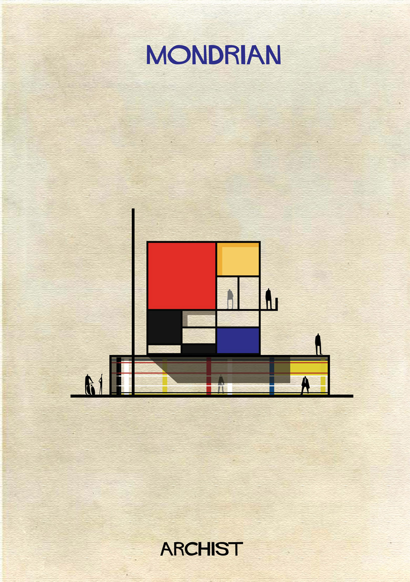 Piet Mondrian - Archist - Illustration by Federico Babina