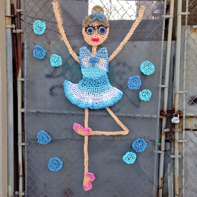 Ballerina Dancer - Crochet Yarn Bombing - Street Art by London Kaye