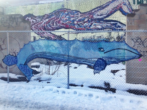 Blue Whale - Crochet Yarn Bombing - Street Art by London Kaye