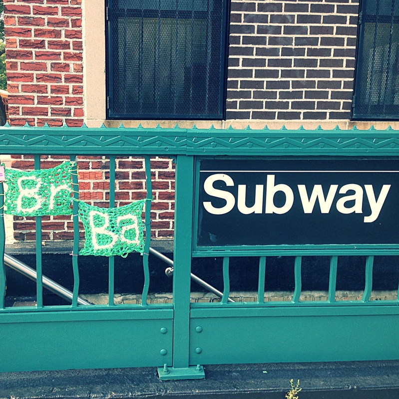 Breaking Bad Logo on Subway Sign - Crochet Yarn Bombing - Street Art by London Kaye