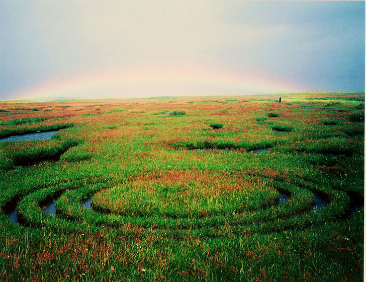 Triplecircle with Rainbow - Land Art by Gerry Barry