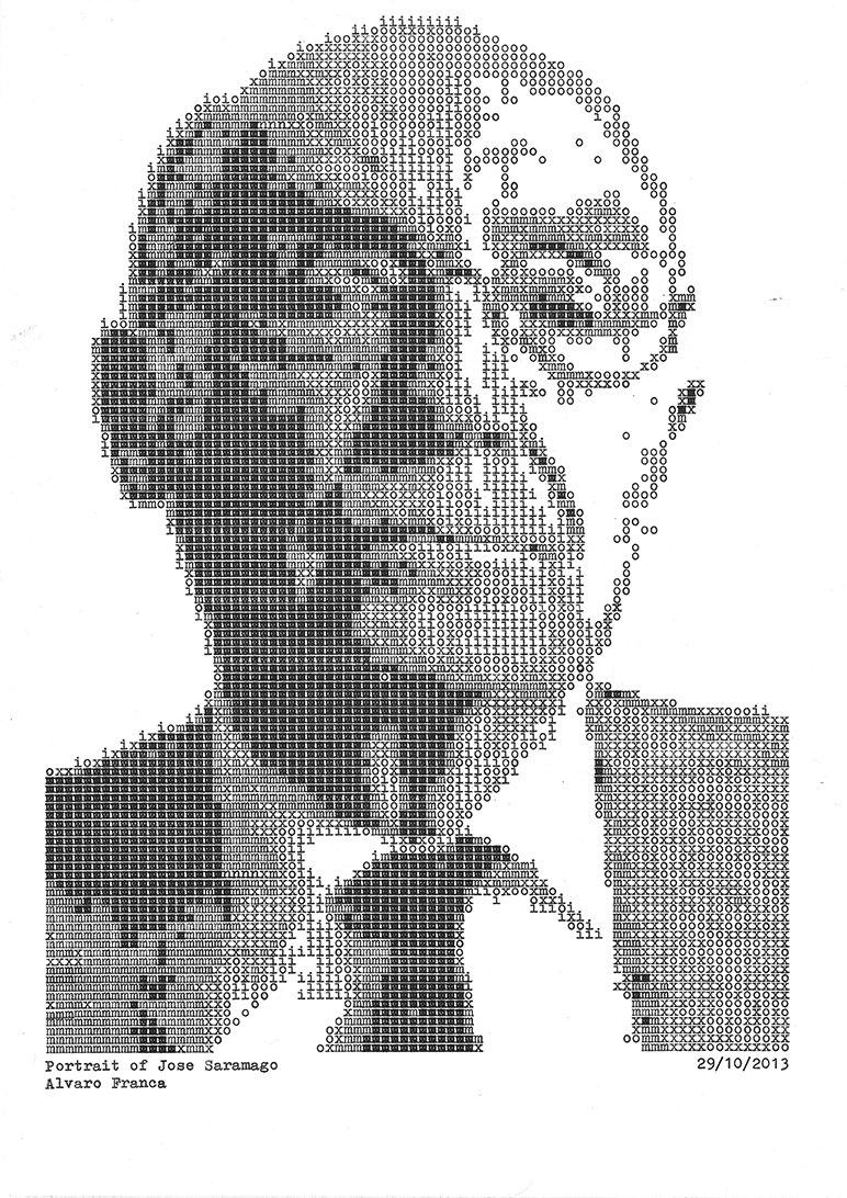 Jose Saramago - Typewritten Portraits by Álvaro Franca