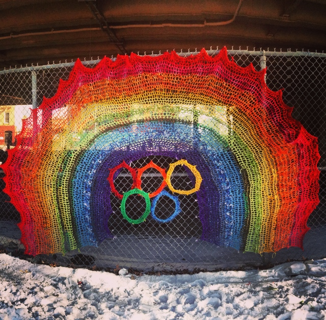 Olympic Rings with Rainbow - Crochet Yarn Bombing - Street Art by London Kaye