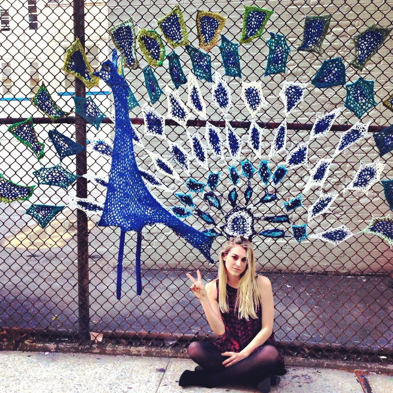 Peacock - Crochet Yarn Bombing - Street Art by London Kaye