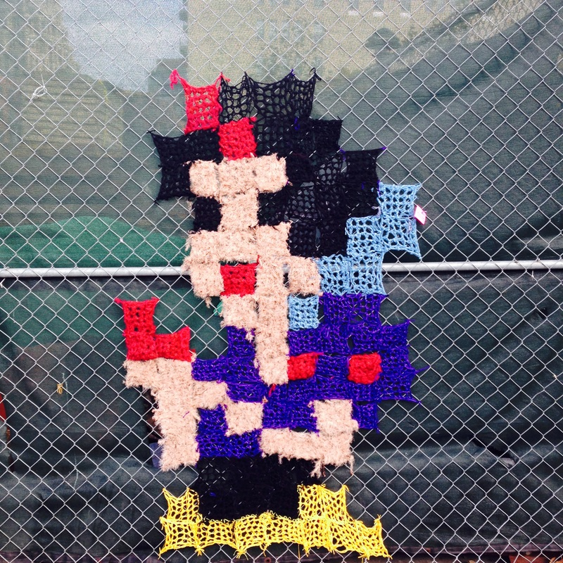 Snow White - Homage to Invader - Crochet Yarn Bombing - Street Art by London Kaye