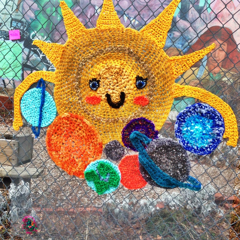 Sun Hugging Planets - Crochet Yarn Bombing - Street Art by London Kaye