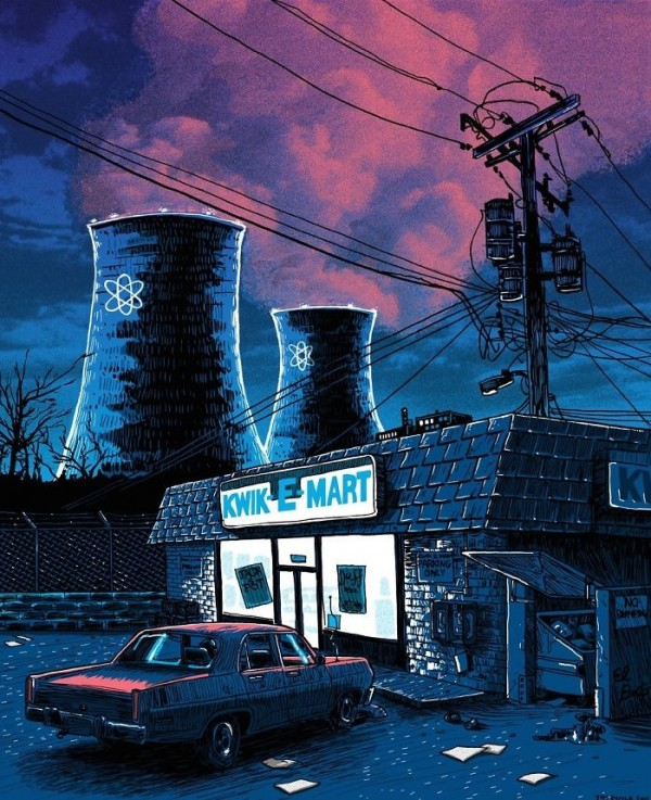 Night Falls on the SNPP - Kwik-E-Mart and Power Plant - Unreal Estate - Art Print by Tim Doyle