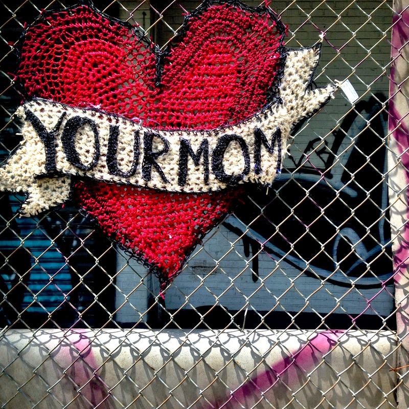 Your Mom Heart - Crochet Yarn Bombing - Street Art by London Kaye