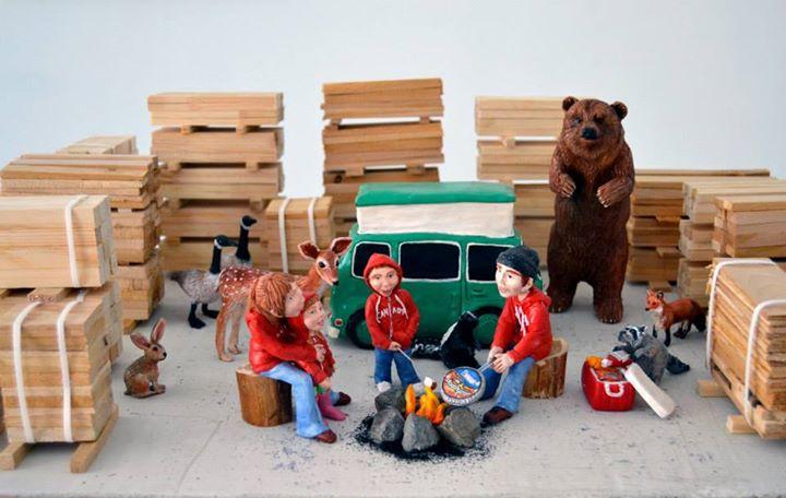 Camping Woodland  - HYPERland - Sculpture Installation by Karine Giboulo