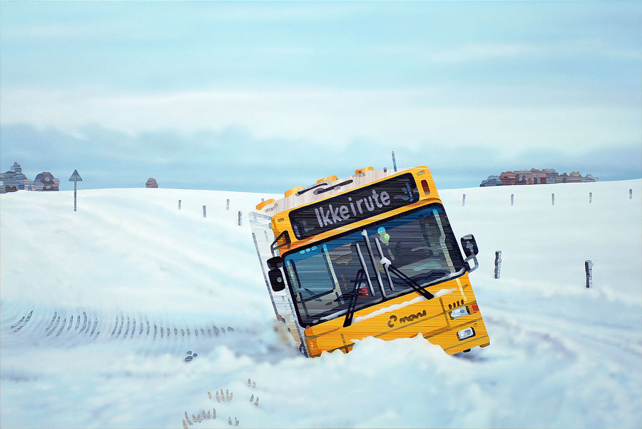 Fastkørt (Stuck) - Acrylic Painting by Allan Otte