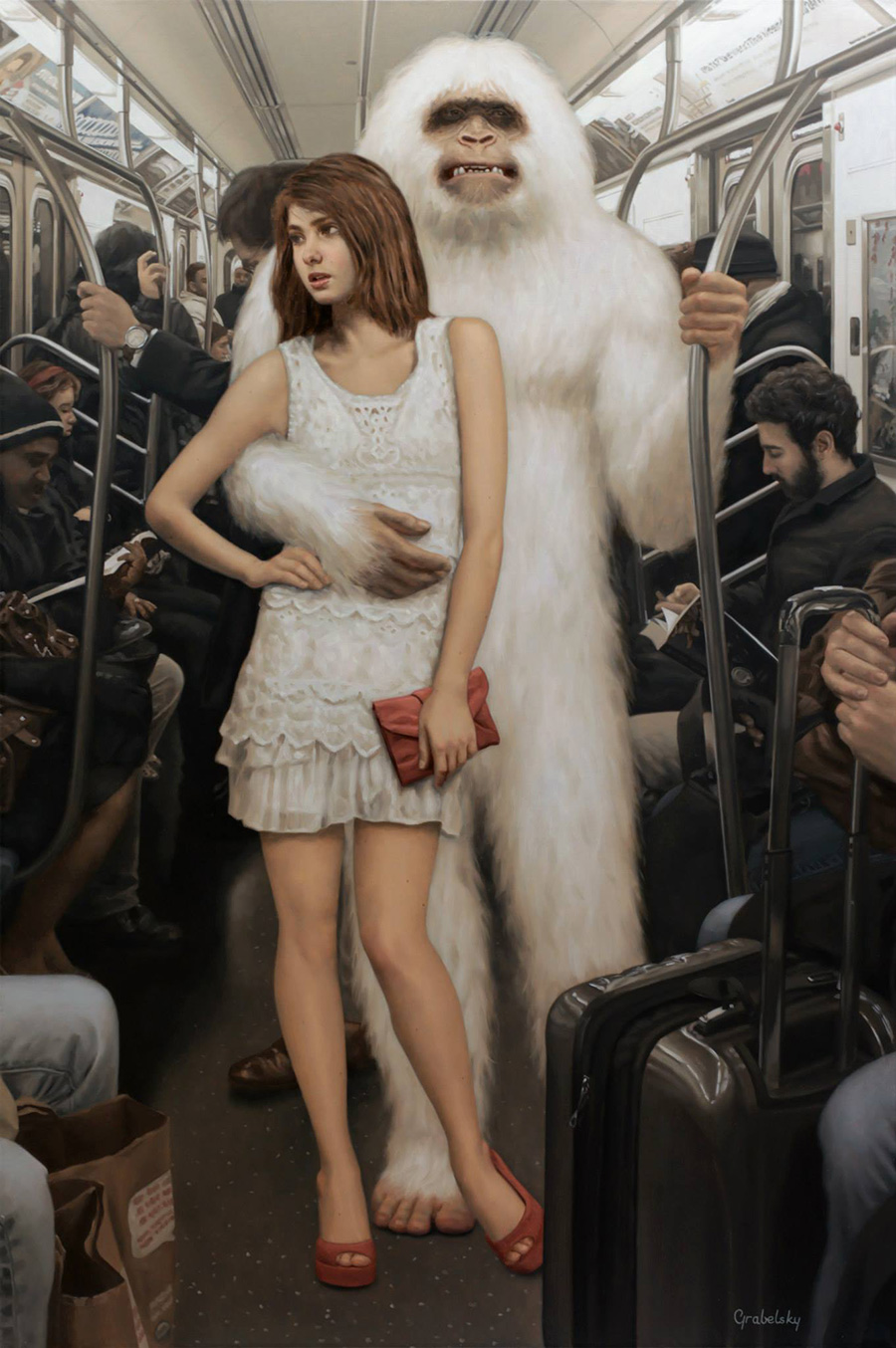 Emma Snow & The Yeti - Anomaly - Oil Painting by Matthew Grabelsky