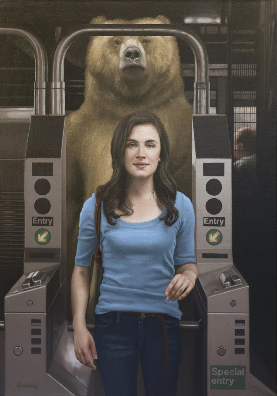 Exit Pursued By a Bear - Anomaly - Oil Painting by Matthew Grabelsky