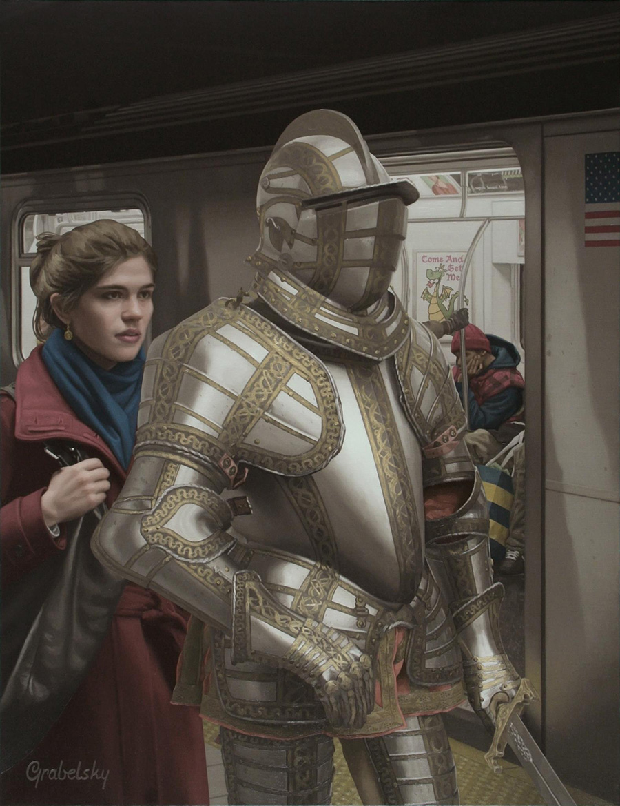 Knight & The Lady - Anomaly - Oil Painting by Matthew Grabelsky