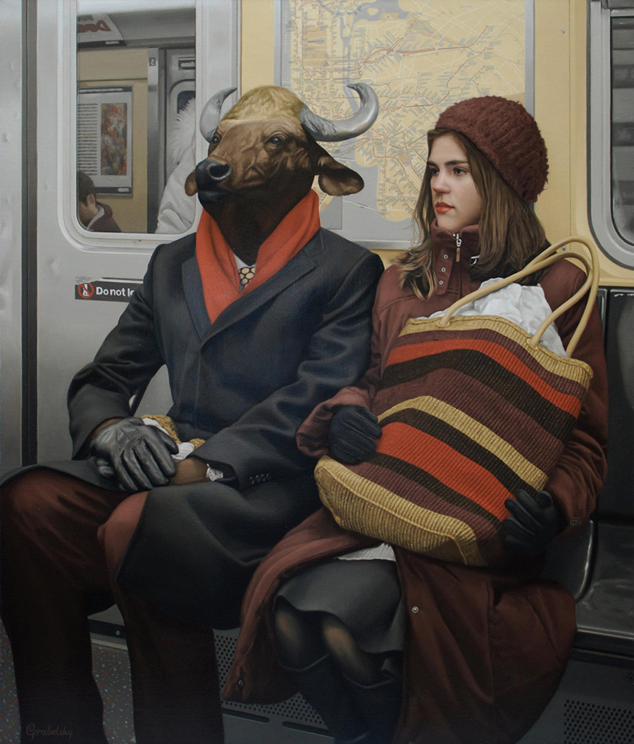 Alexandra & The Minotaur - Anomaly - Oil Painting by Matthew Grabelsky