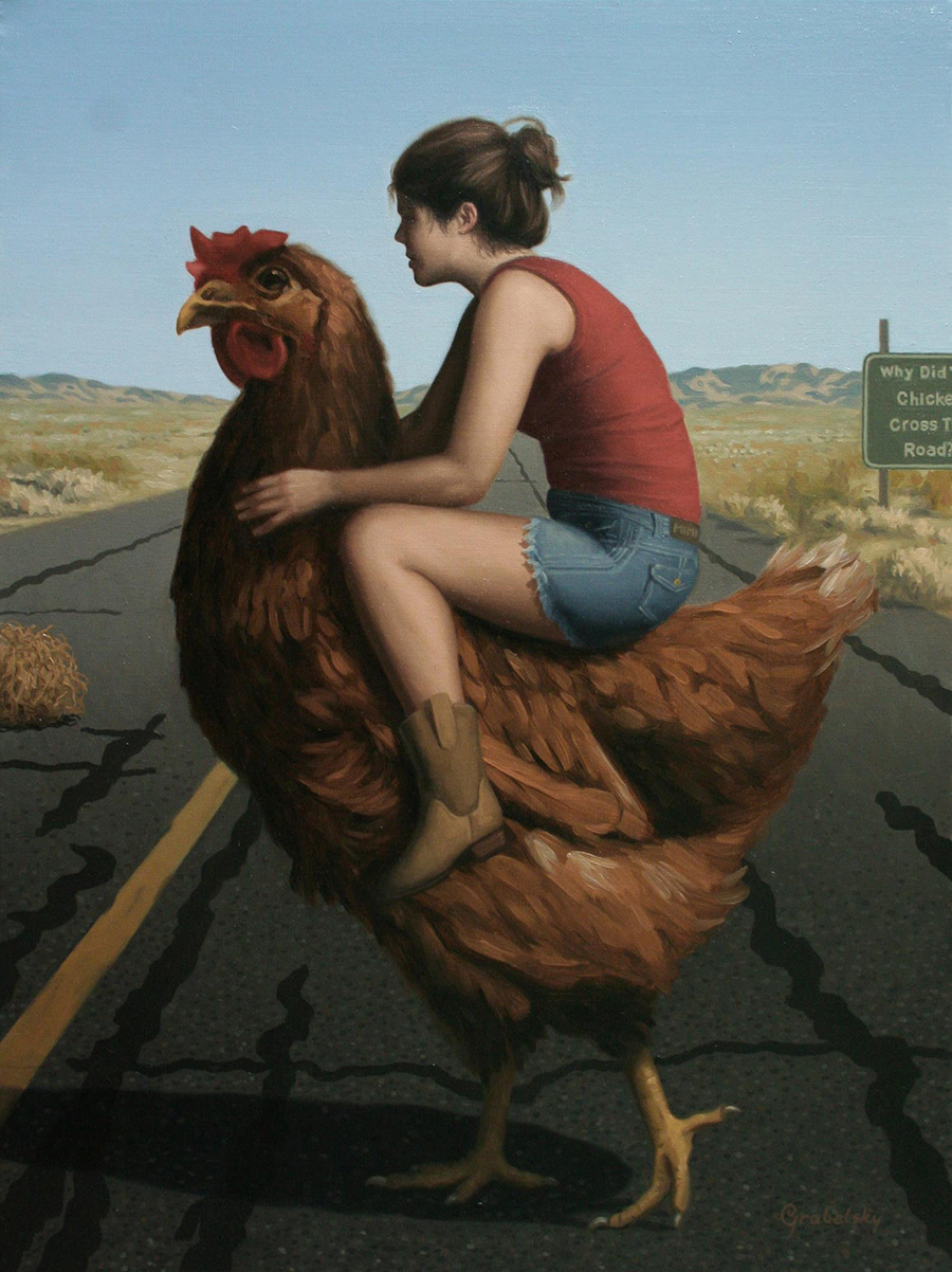 Why Did the Chicken Cross the Road? - Anomaly - Oil Painting by Matthew Grabelsky