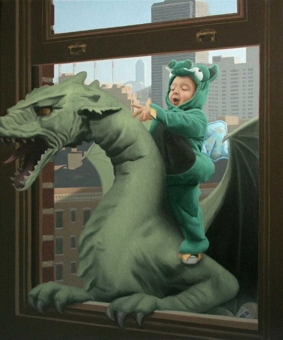 Matteo & The Dragon - Anomaly - Oil Painting by Matthew Grabelsky