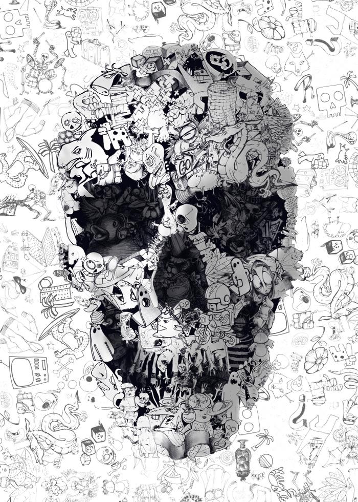 Doodle Skull by Ali Gulec