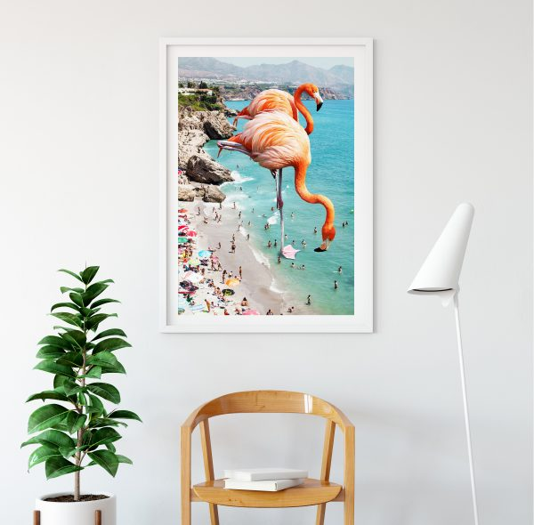 Flamingo collage framed art print